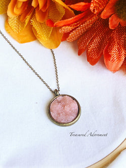 Resin Druzy Light Pink Round Druzy Necklace