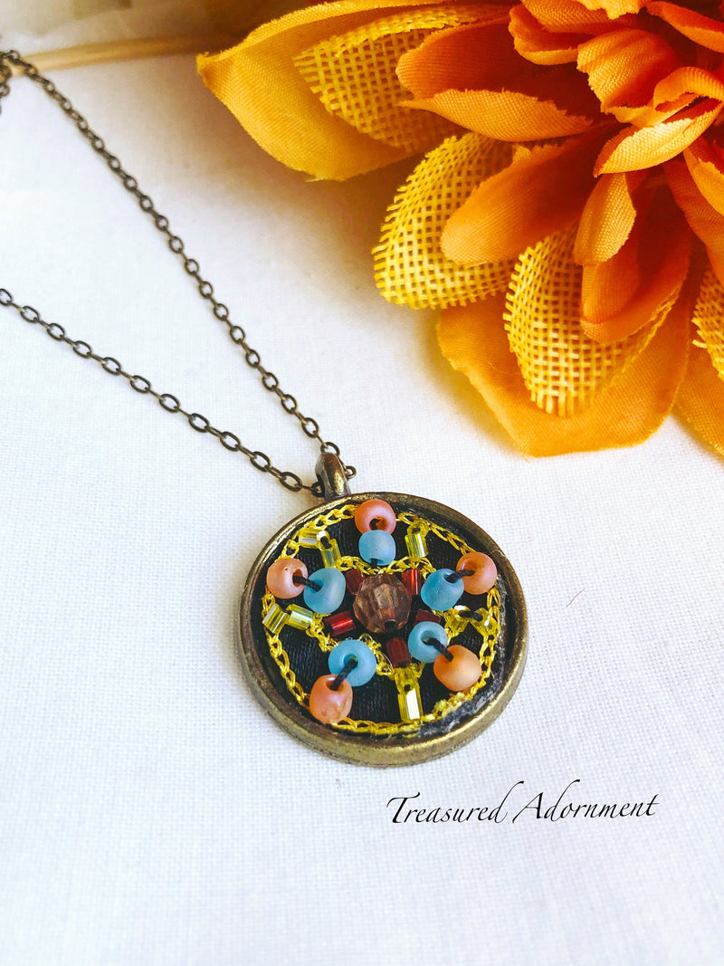 Vintage Style Embroidered Necklace