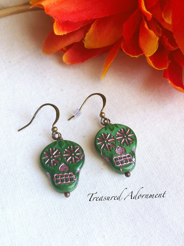 Green Czech Glass Skull Beads Earrings