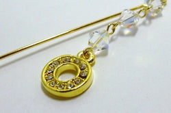 Swarovski Crystal & Gold Charm Dangle Scarf Pin