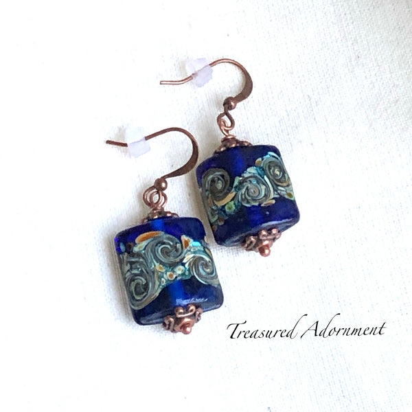 Czech Foil Glass Beads Earrings, Copper, Square