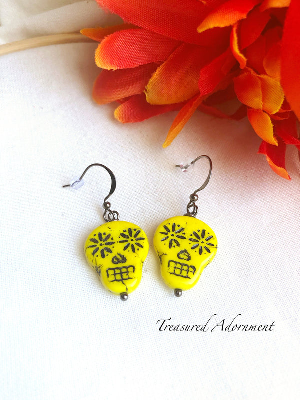 Yellow Czech Glass Skull Beads Earring