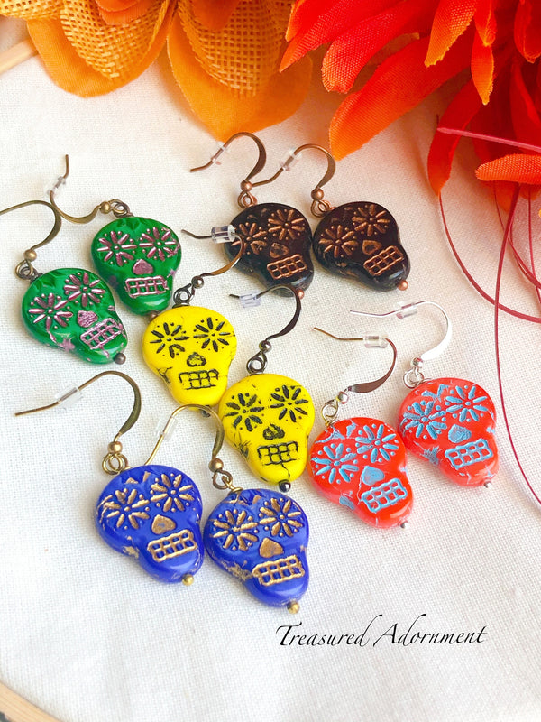 Blue Czech Glass Skull Beads Earrings