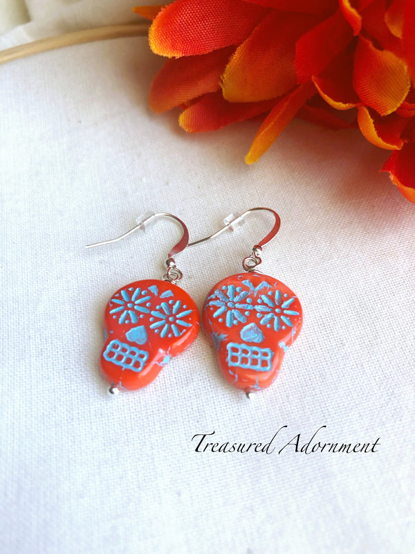 Orange Czech Glass Skull Beads Earrings