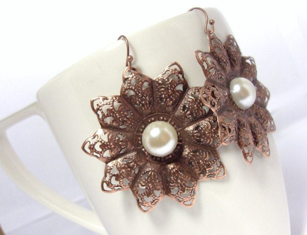 Antiqued Copper Filigree Flower Earrings with Rhinestones