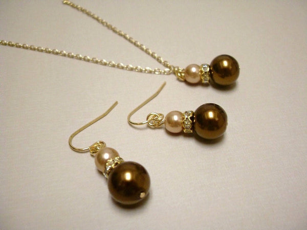 Chocolate Brown and Champagne Glass Pearls Earrings and Necklace Set