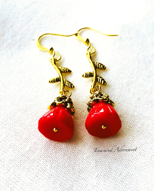 Red Glass Flower Earrings