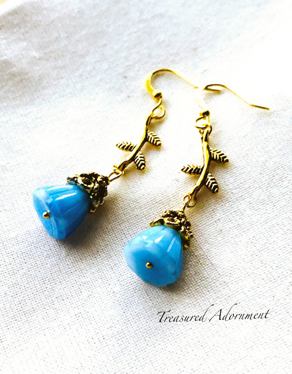 Blue Glass Flower Earrings