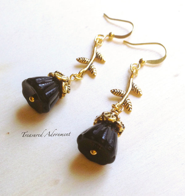 Black Glass Flower Earrings