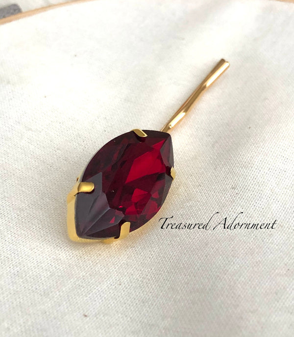 Siam Dark Red Marquis Bobby Pin, in Gold