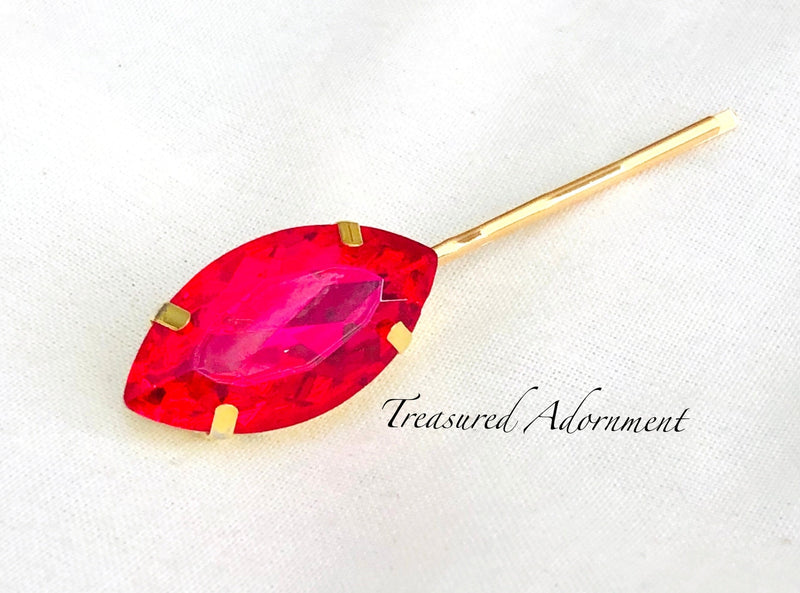 Hot Pink/Fuschia Marquis Rhinestone Bobby Pin, in Gold