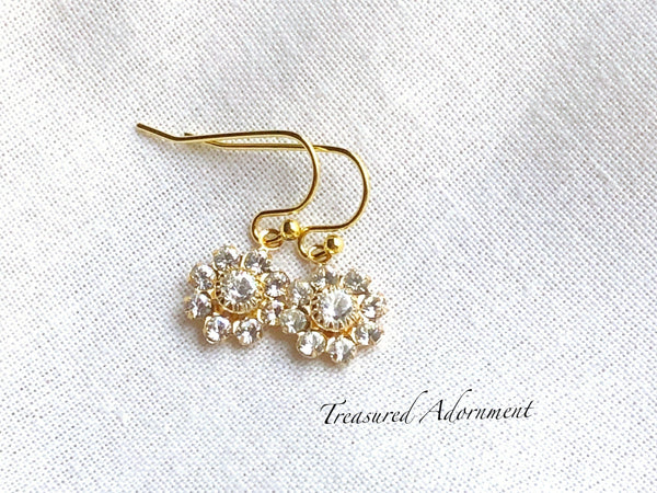 Clear Swarovski Crystal Flower Earrings