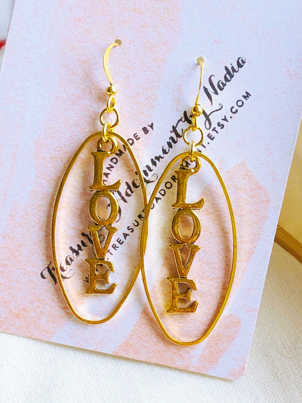 Love Earrings, Gold Tone