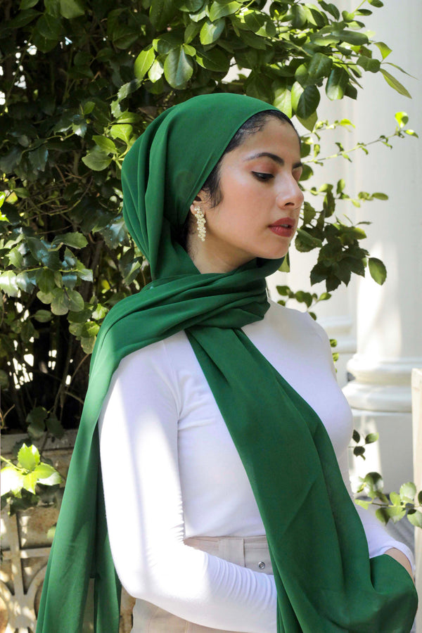 Chiffon Hijab in Forest Green