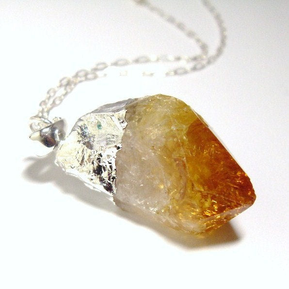 Raw Citrine Crystal Sterling Silver Necklace