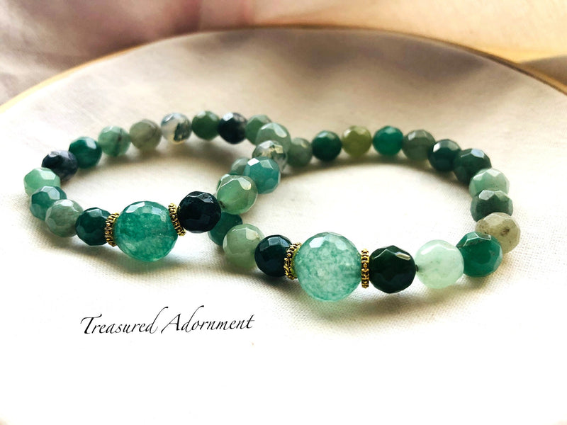 Green Agate Mommy and Me Bracelet