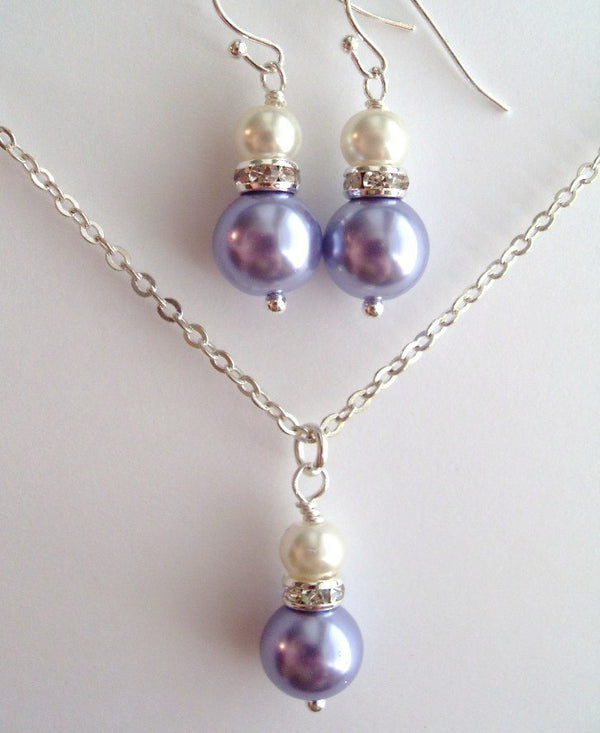 Lavender and White Glass Pearls with Rhinestone Rondelles Earrings and Necklace Set