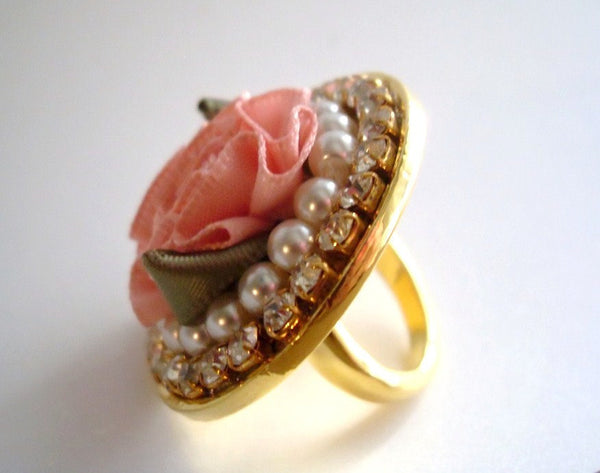 Pink Flower Pearls Ring