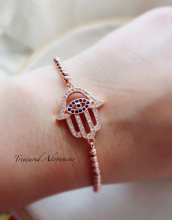 Evil Eye Hamsa Bracelet, Rose Gold