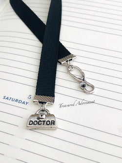 Silver Doctor Charms - Ribbon Bookmark
