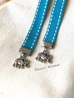 Antiqued Silver Elephant Charms - Blue Ribbon Bookmark