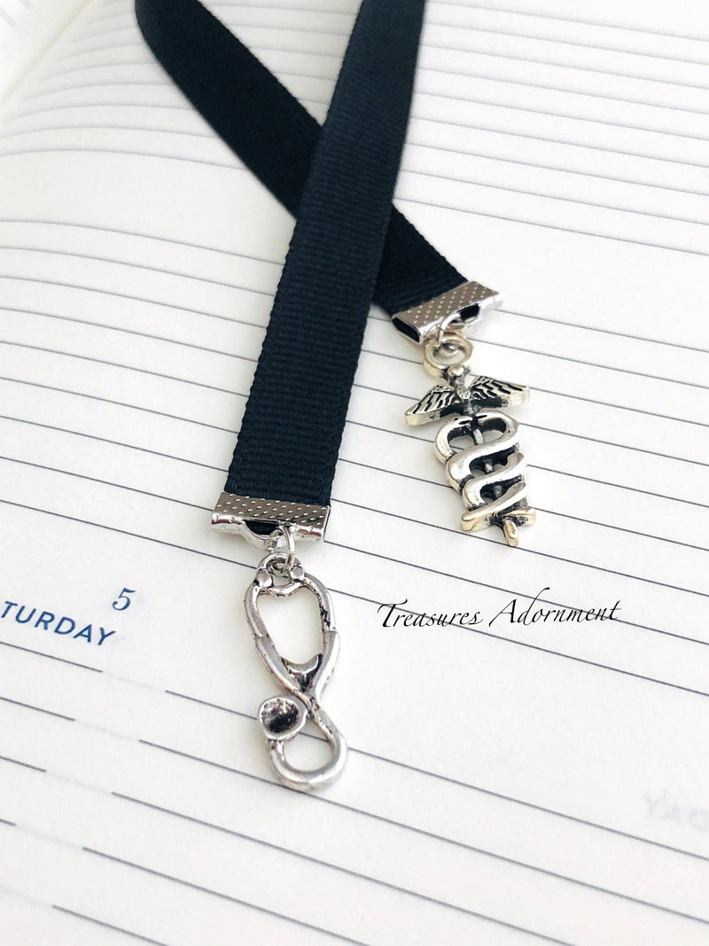Doctor Stethoscope & Medical Symbol Charms - Ribbon Bookmark