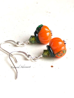 Swarovski Crystals, Lampwork Glass Bead Pumpkin Earrings