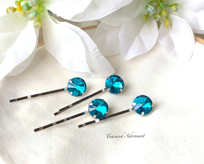 Something Blue - Dark Topaz Round Rhinestone Hair Pins