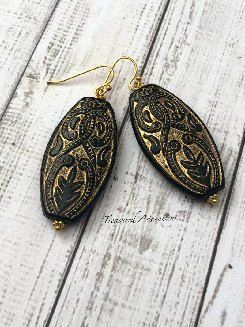 Black Gold Etched Oval Earrings