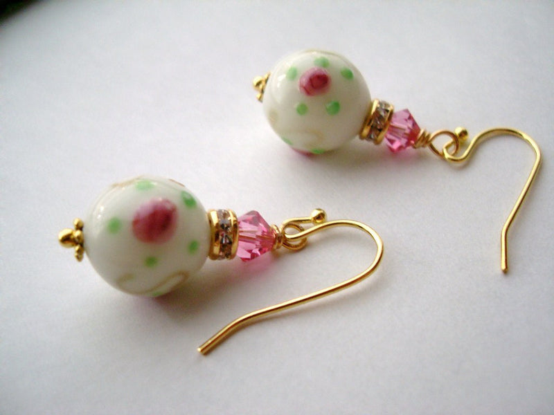 Rose Garden Swarovski Crystals and Lampwork Glass Beads Earrings