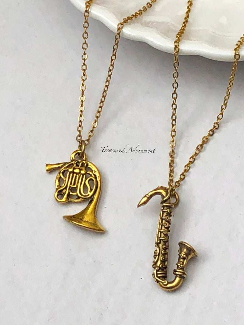 Antiqued Gold Saxophone Necklace
