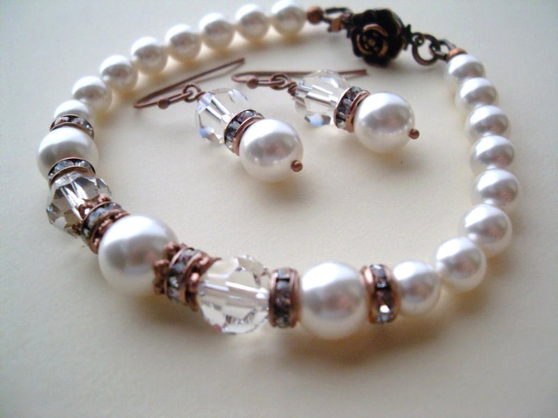 Antiqued Copper Swarovski Pearls and Crystals