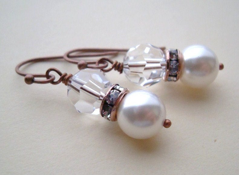 Antiqued Copper Swarovski Pearl and Crystal Earrings