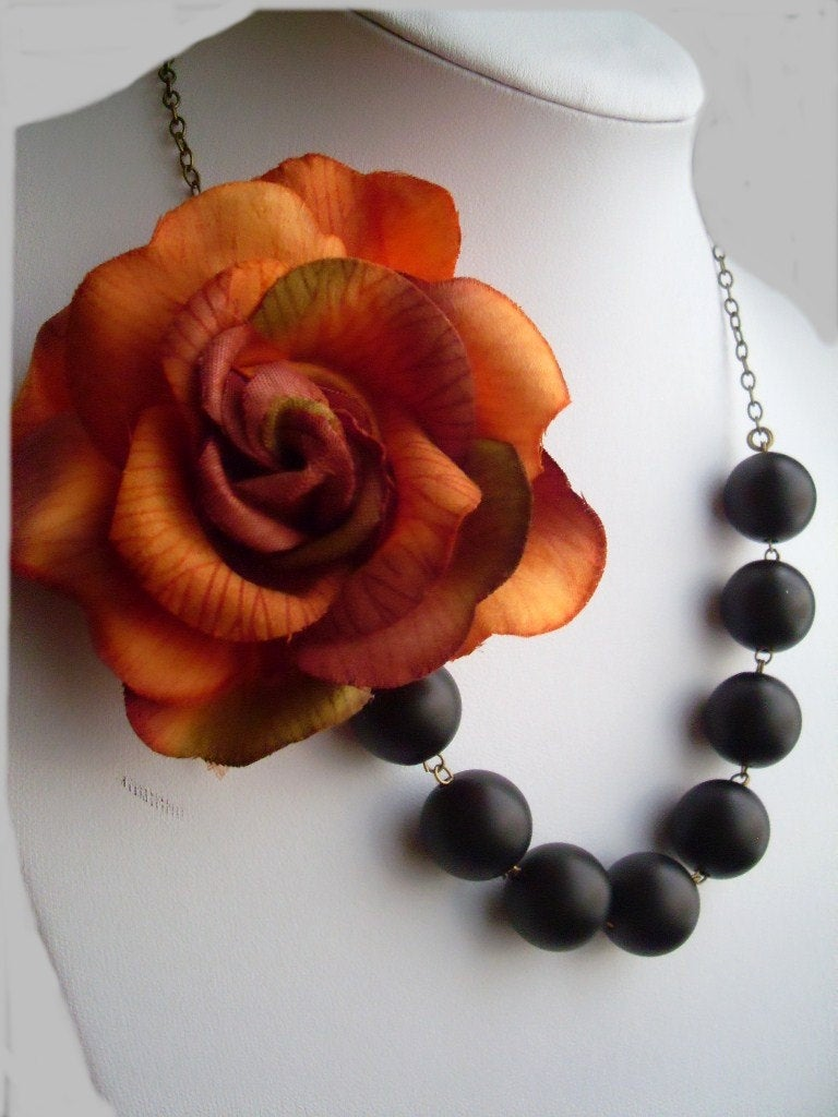Burnt Orange Rose and Matte Black Glass Pearl Asymmetrical Statement Necklace