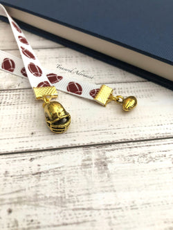 Football & Helmet Charms - Ribbon Bookmark