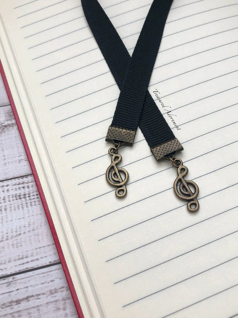 Music Note with Black Ribbon Bookmark