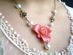Pink Rose and White Glass Pearls Antiqued Brass Necklace