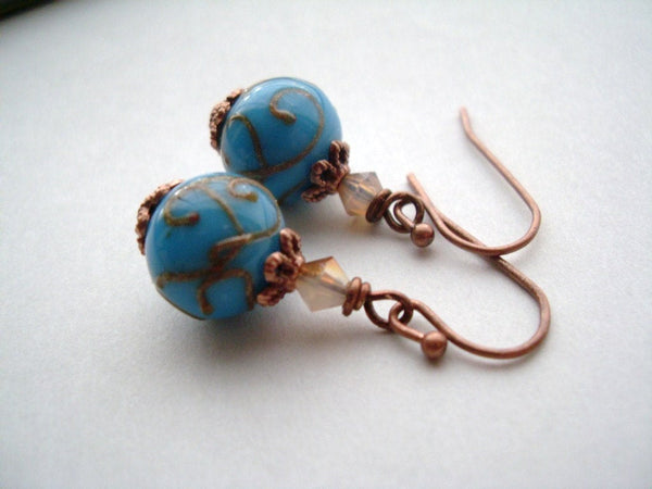 Turquoise Lampwork Glass and Swarovski Crystal Earrings