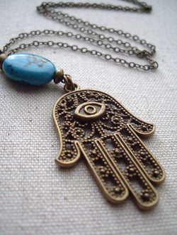 Evil Eye Hamsa and Turquoise Long Necklace