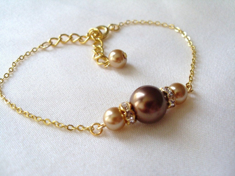 Chocolate Brown and Champagne Glass Pearls Bracelet or Necklace