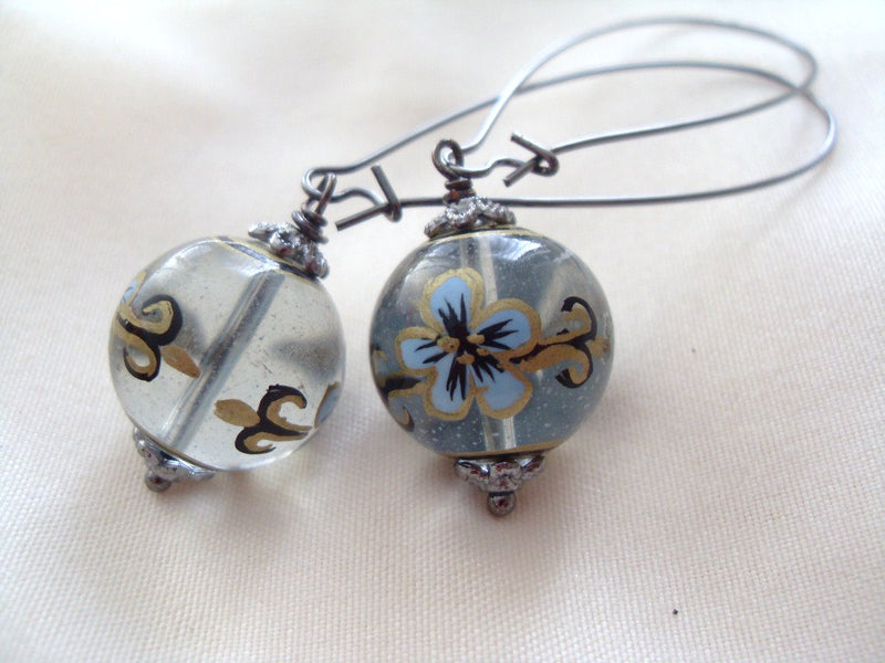 Translucent Glass Flower Earrings