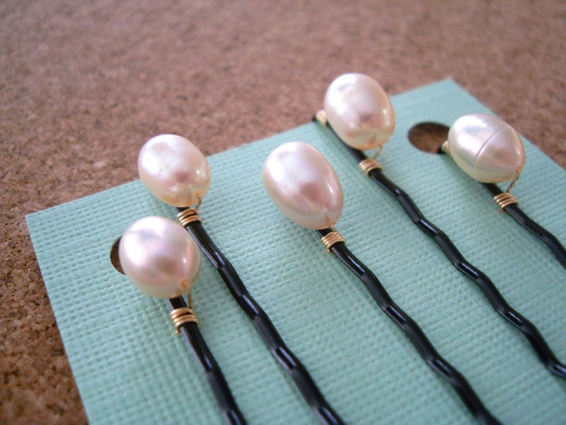Ivory Freshwater Pearl  Bobby Pins in Black, Set of 5