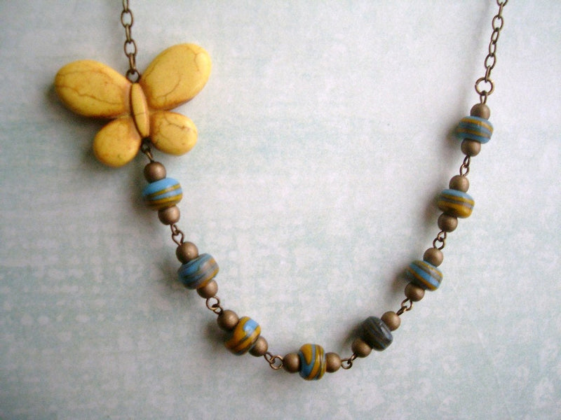 Yellow Butterfly Asymmetrical Statement Necklace