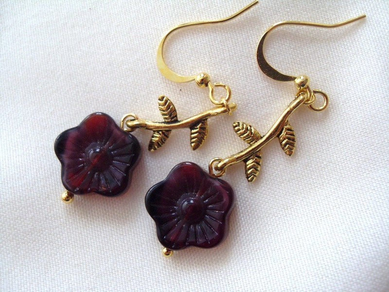 Burgundy Flower Earrings
