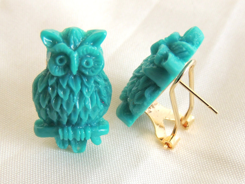 Green Owl Stud Earrings