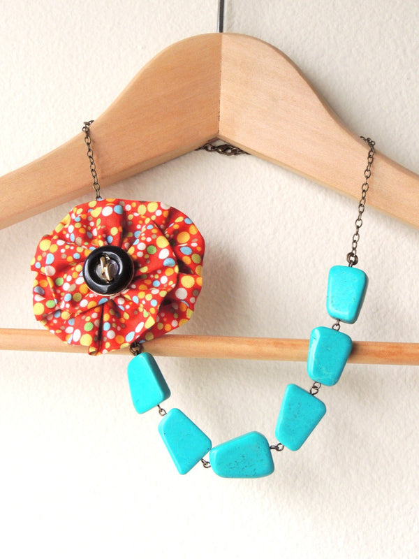 Retro Turquoise Fabric Flower Necklace