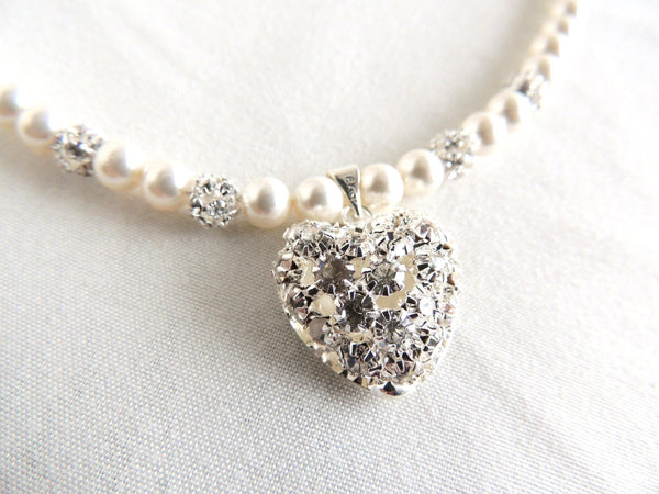 Rhinestone Heart and Swarovski Pearls Necklace
