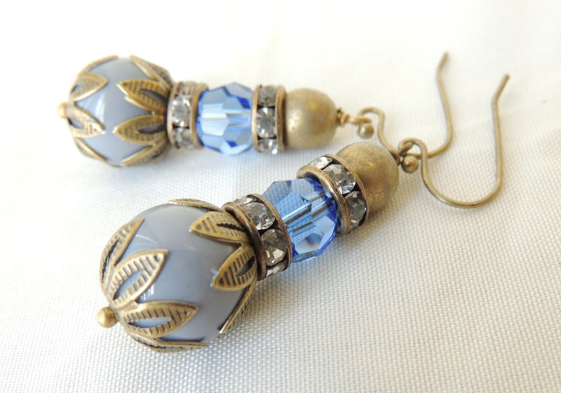 Gray Glass Beads Blue Preciosa Crystal Earrings