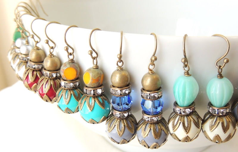 Turquoise Glass Bead & Antiqued Brass Bead Earrings