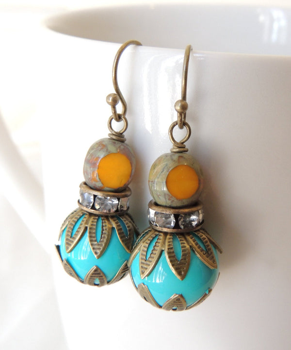 Turquoise & Yellow Glass Beads Earrings